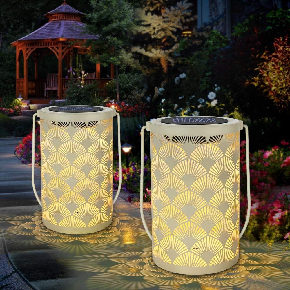 Solar Lantern Light for Decor - Deaunbr Outdoor Tabletop Lanterns  Waterproof Lamp Hanging Garden Lights with Handle Decorations for Patio,  Backyard,