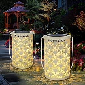 Solar Lantern Light for Decor - Deaunbr Outdoor Tabletop Lanterns Waterproof Lamp Hanging Garden Lights with Handle Decorations for Patio, Backyard, Pathway, Yard Tree - Cream Color (2 Pack)