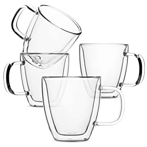 BTäT- Espresso Cups, Espresso Coffee Cups, Set of 4 (5 oz, 150 ml), Glass Coffee Mugs, Double Wall Glass Cups, Cappuccino Cups, Latte Cups, Latte Mug, Clear Coffee Cup, Espresso Glass, Glass Tea Cups