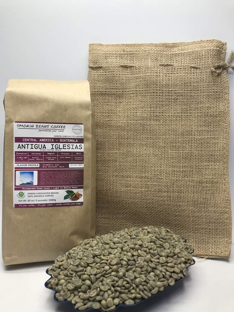 5 Pounds - Central American - Guatemala Antigua - Unroasted Arabica Green Coffee Beans - Grown Antigua Region - Altitude 4700-4900 Feet - Drying/Milling Process Is Fully Washed - Includes Burlap Bag by Smokin Beans