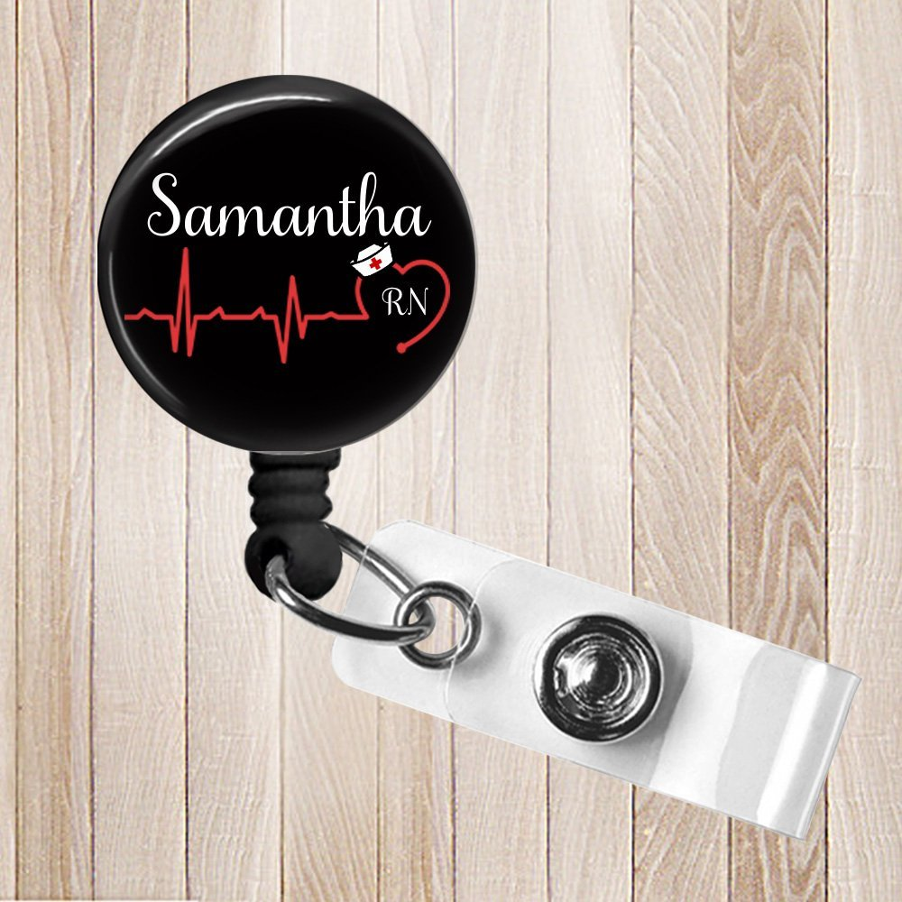 Heartbeat Personalized Nurse, RN, LPN, LVN, CNA Retractable Badge Reel, ID Holder