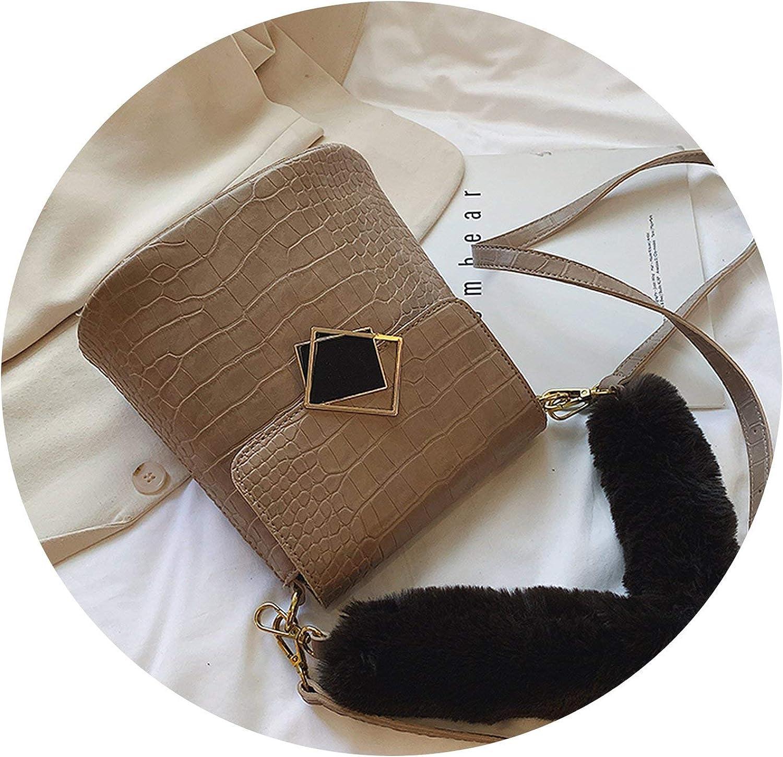 Crocodile Pattern Plush Handle Crossbody Bags For Women 2019 Winter Shoulder Messenger Bag,khaki