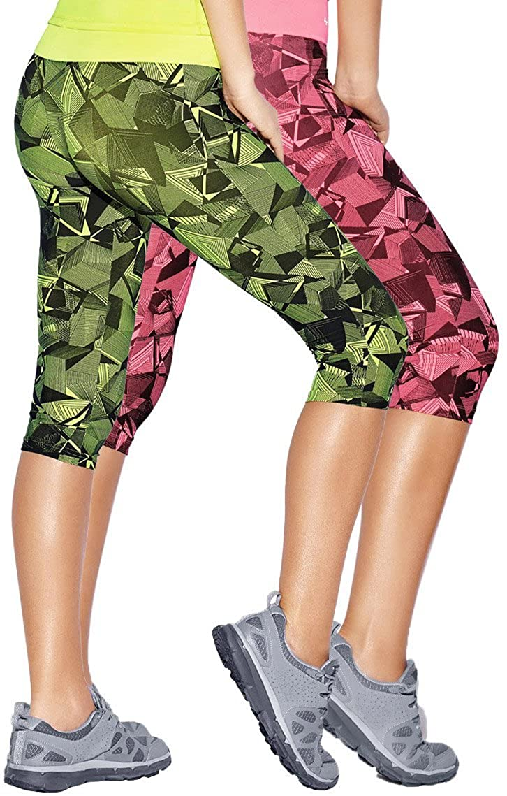 Haby Women's Leggings Fitted Capris Gym Workout Running Tights Wide Waistband