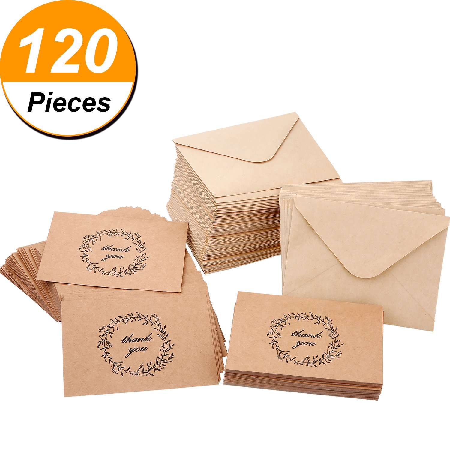 Bememo Kraft Thank You Greeting Note Cards with Kraft Envelopes (120)