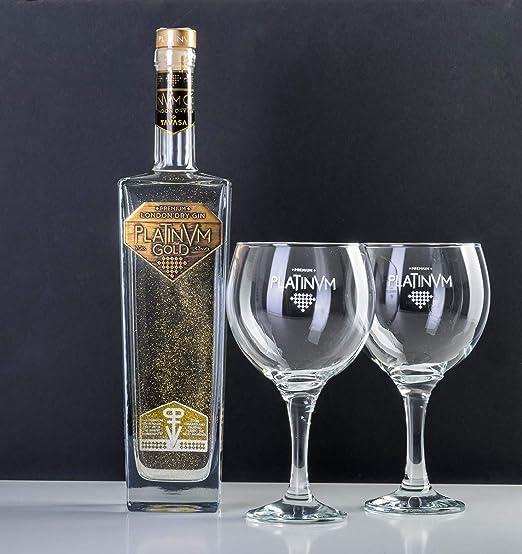 Pack London Dry Gin Platinvm Gold con Oro y dos elegantes copas para degustarla - ideal regalo día del padre, San Valentín, Navidad, cumpleaños, ...