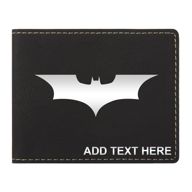 Personalized Engraved Batman Dark Knight Vegan Leather Wallet, Blk & Silver