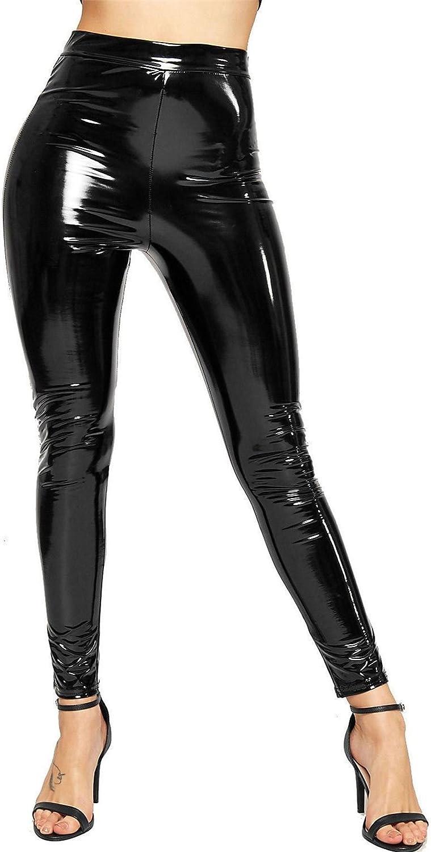 effetto lucido in vinile da donna in PVC Leggings da discoteca a vita alta elasticizzati effetto bagnato