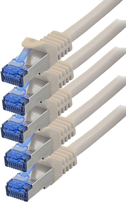 Bigtec 5 Stück 0 5m Cat 7 Gigabit Patchkabel Netzwerkkabel Weiß Kupferkabel Patch Ethernt Lan Dsl