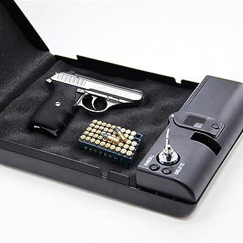 Caja de seguridad portátil biométrica con bloqueo por huella dactilar. Para joyas, armas, etc. De Solomone Cavalli: Amazon.es: Deportes y aire libre