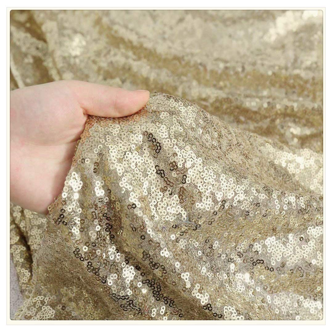 QueenDream Gold Sparkly Fabric Glitter Table Overlays Sequin Fabric Tablecloth Fabric Backdrop Curtain Sparkle Sequin Linens