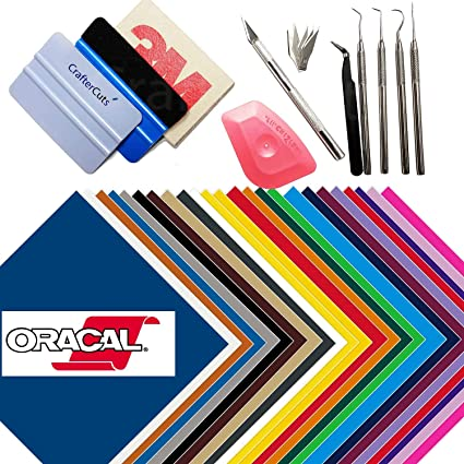 Oracal 651 24 Sheet Sampler Pack with CrafterCuts Deluxe Vinyl Tool Kit  (12x12 inch)