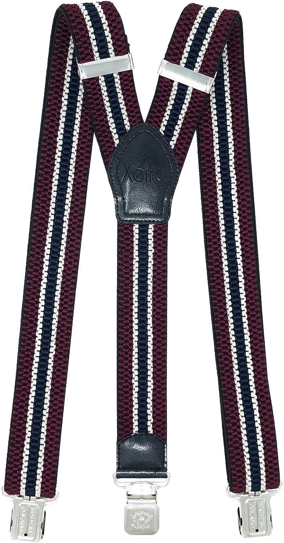 extra fuertes y extralargos en dise/ño de rayas y 3 pinzas XL Adler de 4 cm de ancho Tirantes Xeira de alta calidad para hombre y mujer