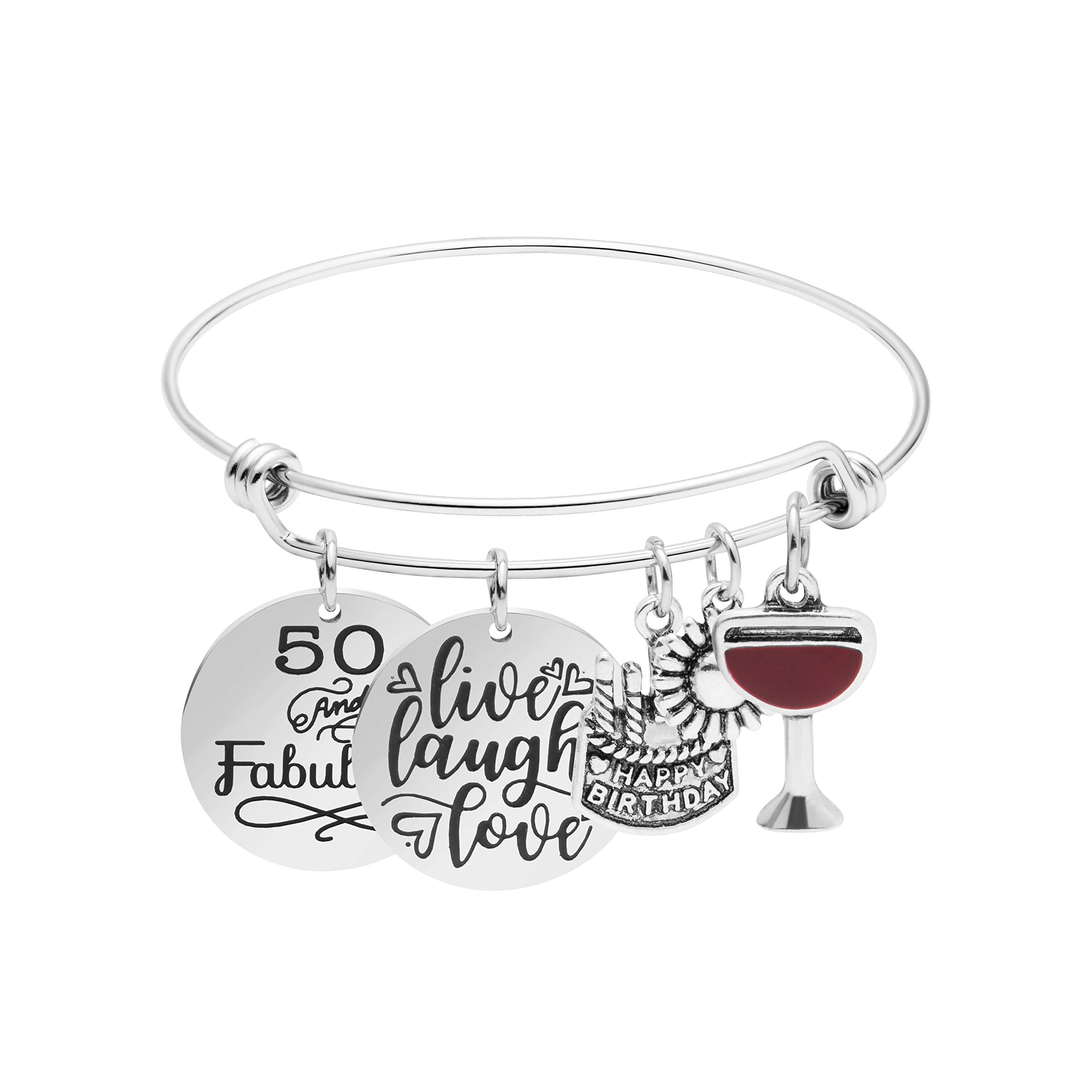 Awegift 50th Birthday Gifts for Women Stainless Steel Charm Bracelet Gift Jewellery