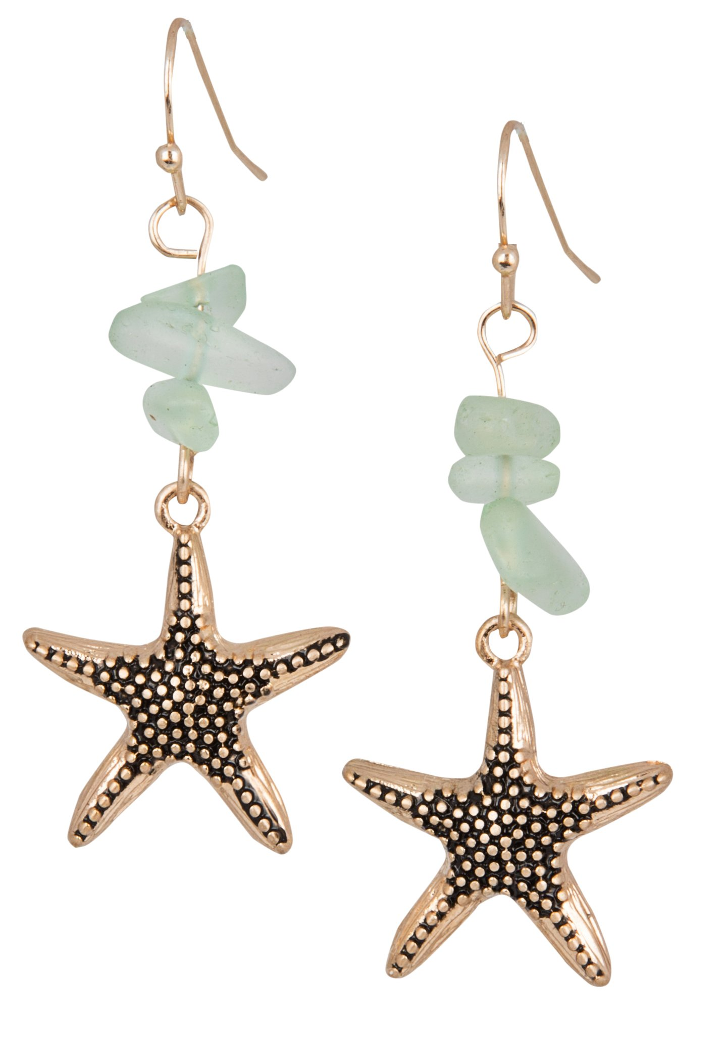 Sea Glass Starfish Earrings Gift Set for Women Silver & Blue or Gold & Green | SPUNKYsoul Beach Collection (Gold Green)
