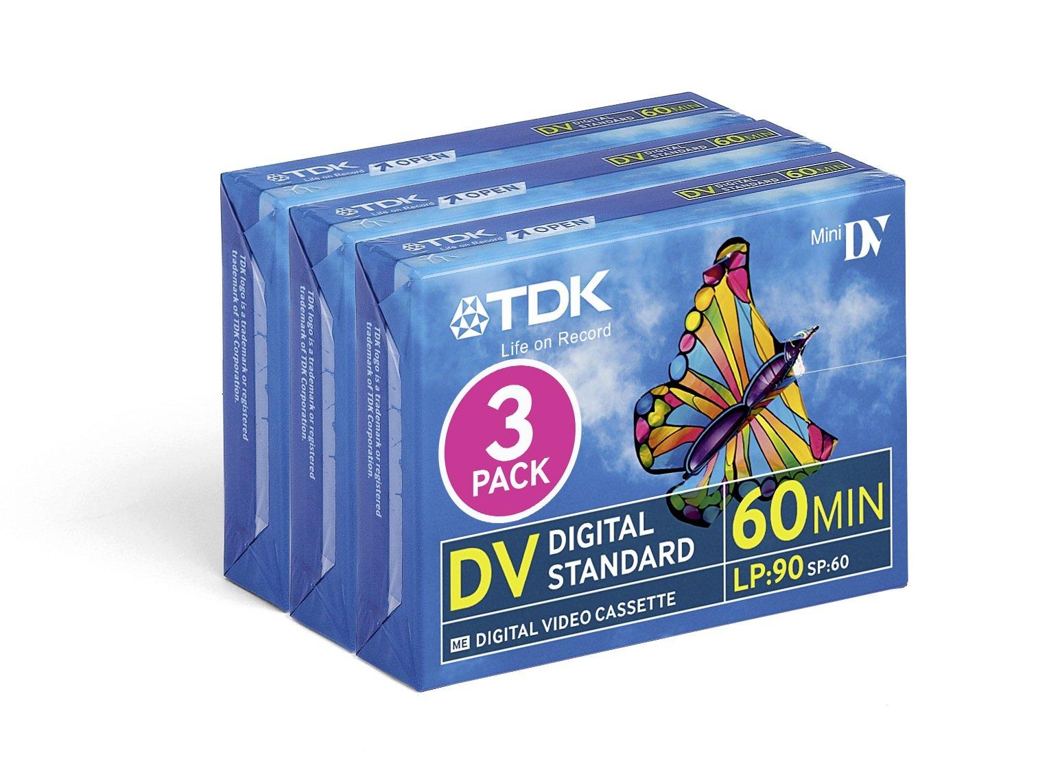 TDK DVM60 60 Minute LP:90 Blank Tapes Cassettes for Mini DV Camcorders - 3 Pack
