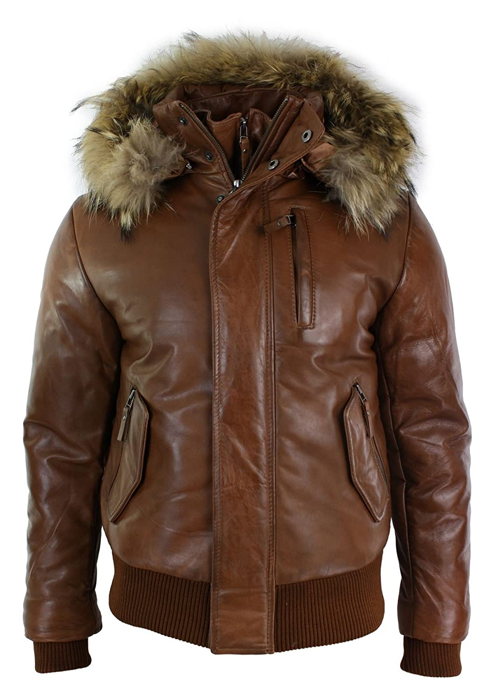 Amazon.com: Aviatrix Mens Real Fur Hood Bomber Leather Jacket Tan ...