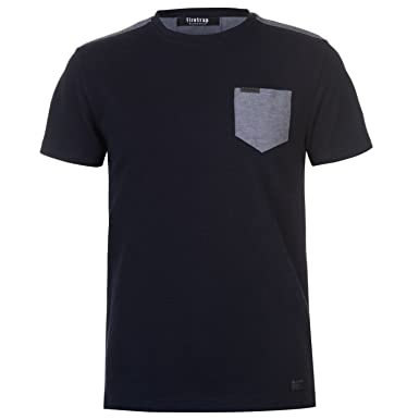 d8472d1277e7 Firetrap Mens Blackseal Texture T Shirt Crew Neck Tee Top Short Sleeve  Round Navy S