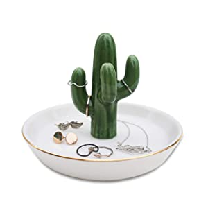 mono living Ring Holder Tower Cactus Earring Tray Dish Ceramic Jewelry Organizer Tropical Necklace Bracelet Home Décor Birthday St Patrick's Day Gift for Her Him Girlfriend Teen Girl Women Ladies
