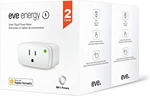 Eve Energy 2 Pack - Smart Plug & Power Meter with Built-in Schedules, switch a connected lamp or device on & off, voice control, no bridge necessary, Bluetooth Low Energy, 120 V, 60 Hz (Apple HomeKit)