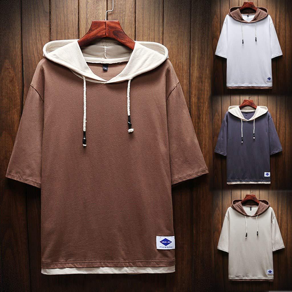 MAILANG Mens Summer T-Shirt Cotton Linen Hippie Shirt V-Neck Beach Yoga Top Blouse