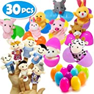 30 PCS Easter Eggs Toys Surprise with Finger Puppets, 30 PCS Plush Animal Zoo Family Finger Puppets in 2.5