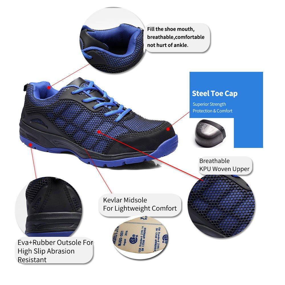 JACKBAGGIO Men's Athletic Steel Toe Breathable Mesh Lightweight Work Shoes (10.5, Blue) by JACKBAGGIO (Image #2)