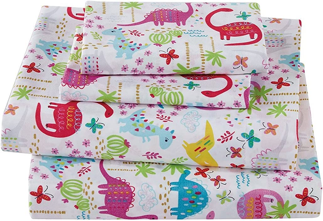 MK Home Collection 3pc Crib Sheet Set Dinosaur Pink White Blue Green Purple New