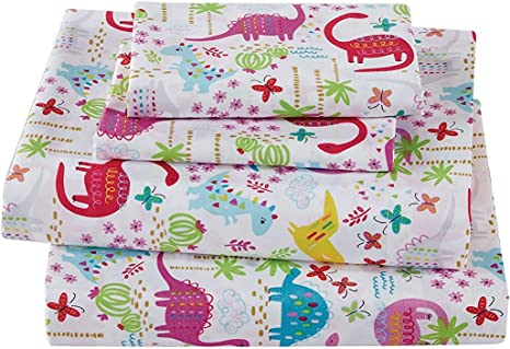 Linen Plus Sheet Set for Girls Dinosaur Pink White Red Purple Yellow Dinosaurs Jurassic Flat Sheet Fitted Sheet and Pillow Cases Queen Size New