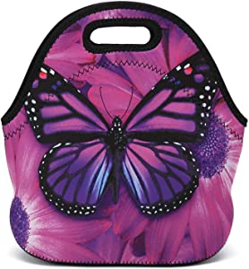 AMARY Reusable Insulated Thermal Neoprene Lunch Tote Food Snacks Bag Carry Case Handbags Small Size for Adults Kids Toddler (Butterfly)