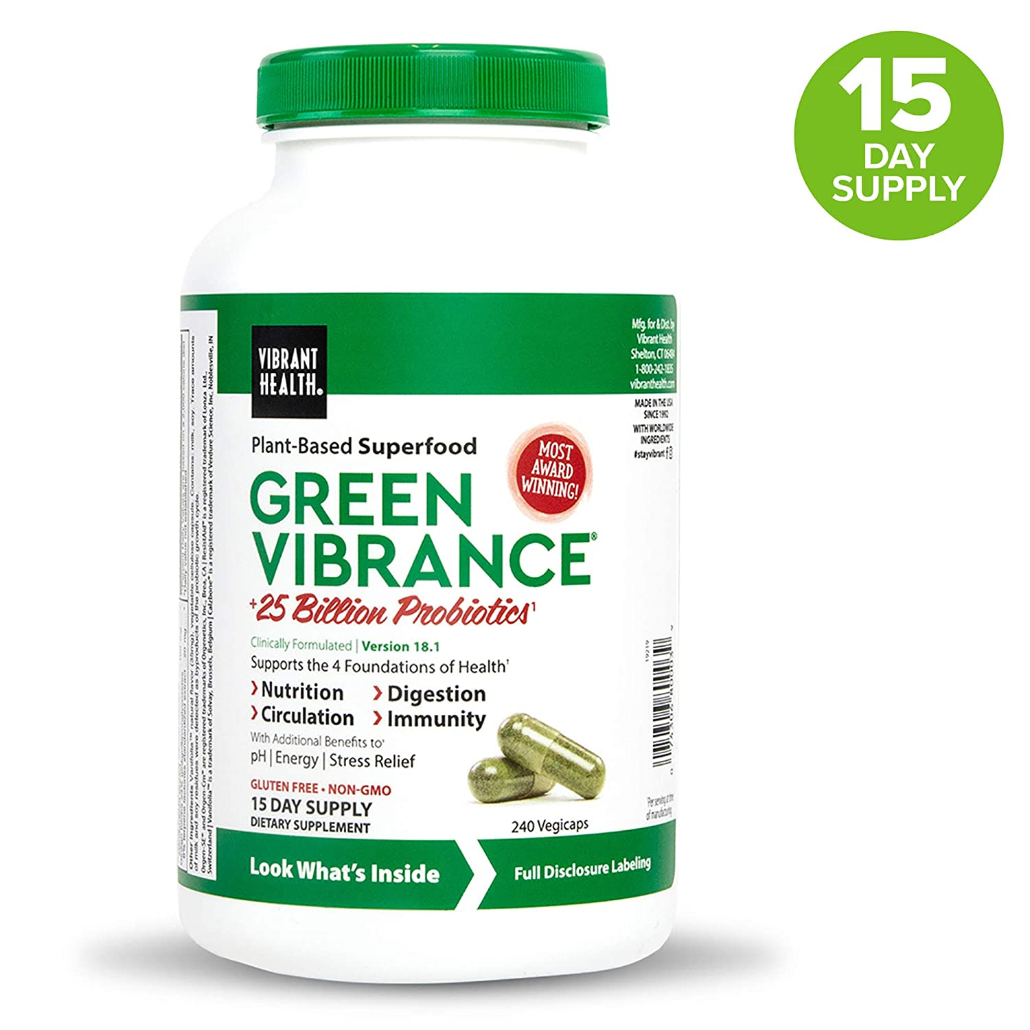 Vibrant Health, Green Vibrance, Vegetarian Superfood Capsules with Over 70 Ingredients, 25 Billion Probiotics, 240 capsules (15 servings) (FFP)