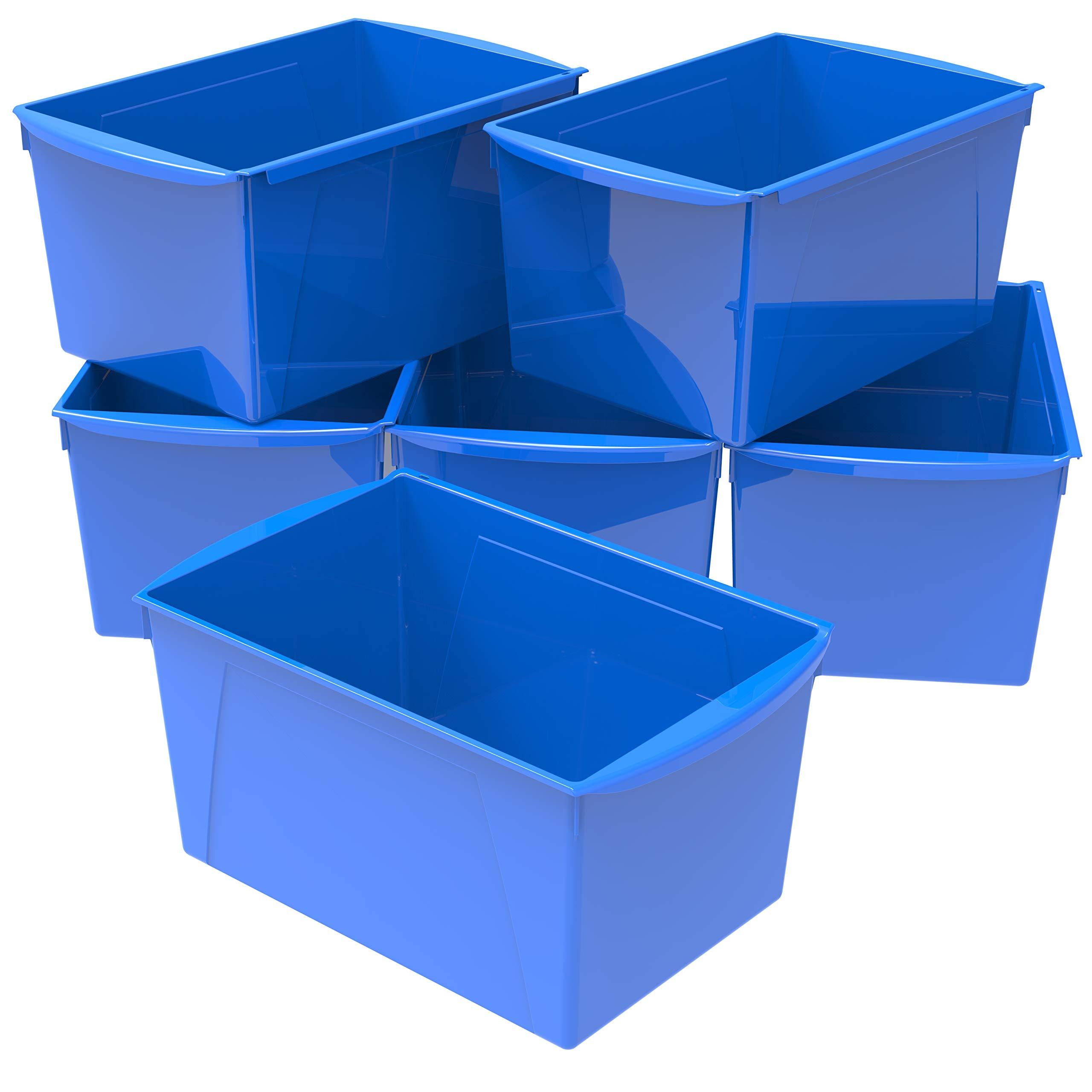 Storex Extra Large Book Bin, Blue, 6-Pack