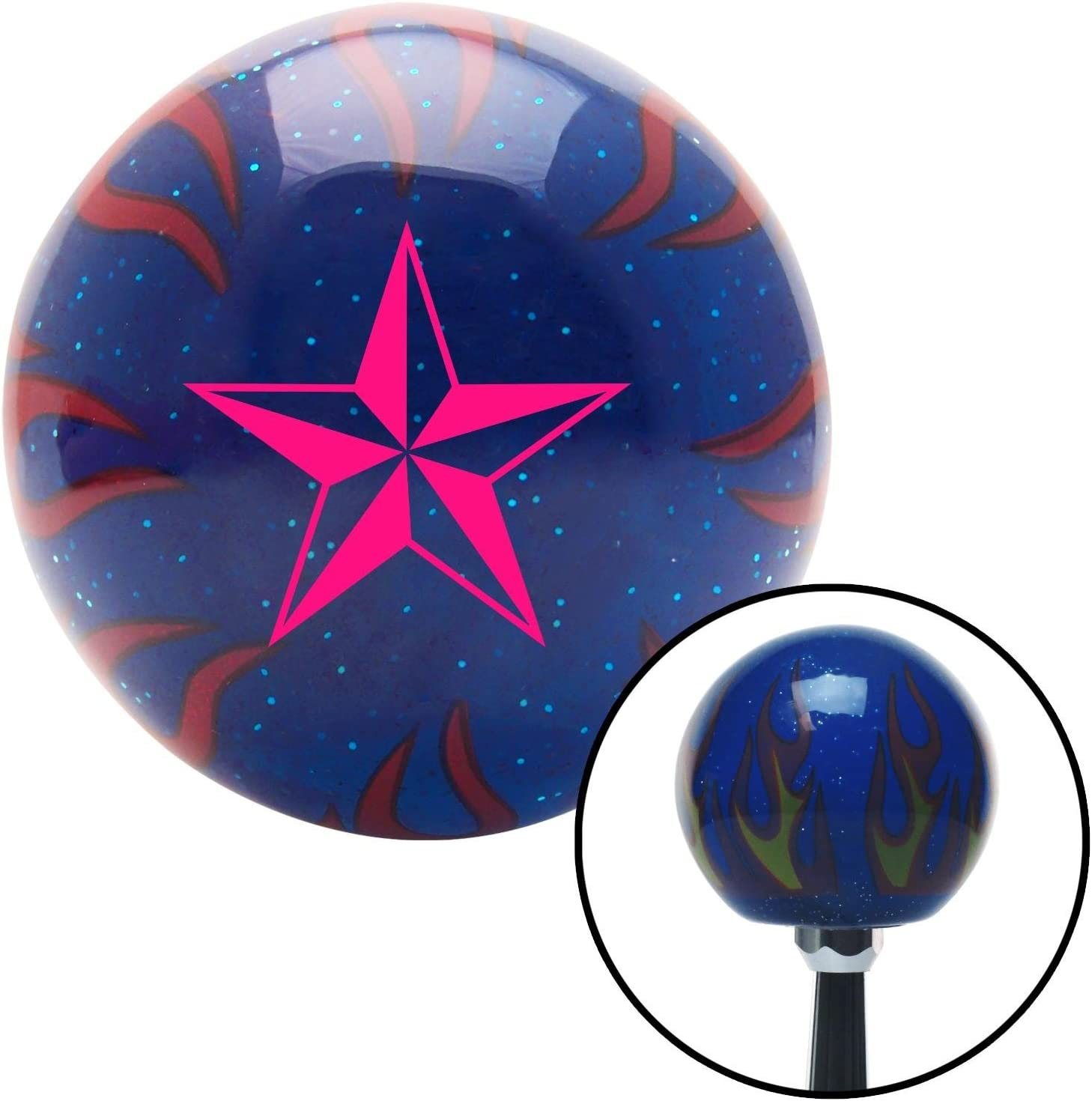 American Shifter 247902 Blue Flame Metal Flake Shift Knob with M16 x 1.5 Insert Pink Chinese Symbol #2