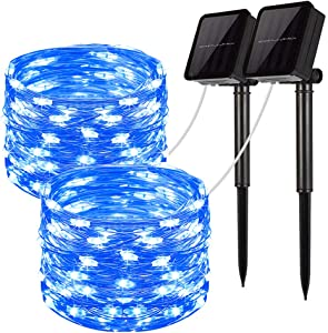 LiyuanQ Solar String Lights, 2 Pack 100 LED Solar Fairy Lights 33 feet 8 Modes Sliver Wire Lights Waterproof Outdoor String Lights for Garden Patio Gate Yard Party Wedding Indoor Bedroom Blue