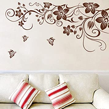 Wall decal brown leaves flowers vine home sticker house decoration wallpaper removable living dinning room bedroom