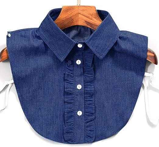PENG Mujeres Raya Denim Lace Collar Camisa Cuello Falso Corbata Vintage Desmontable Cuello Falso Solapa Blusa Top Ropa de Mujer Accesorios: Amazon.es: Hogar