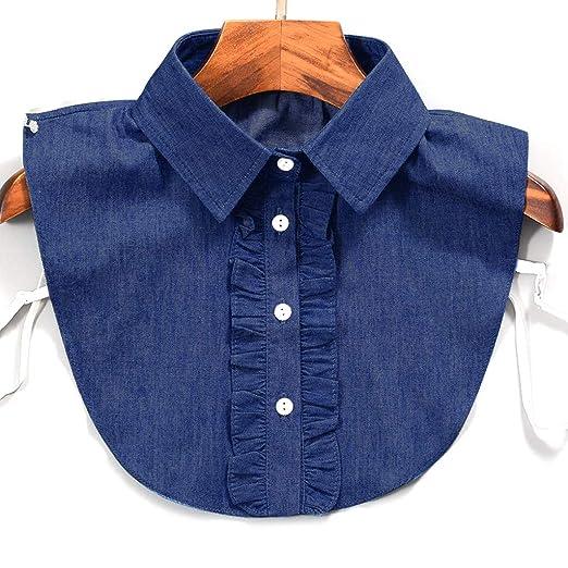 PENG Mujeres Raya Denim Lace Collar Camisa Cuello Falso Corbata ...