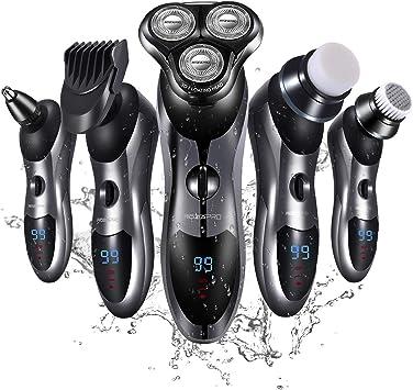 Maquinilla de afeitar eléctrica para hombre, 5 en 1, para afeitadoras rotativas de barba, nariz, afeitadoras eléctricas mojadas y secas, resistentes al agua, USB, carga rápida: Amazon.es: Salud y cuidado personal