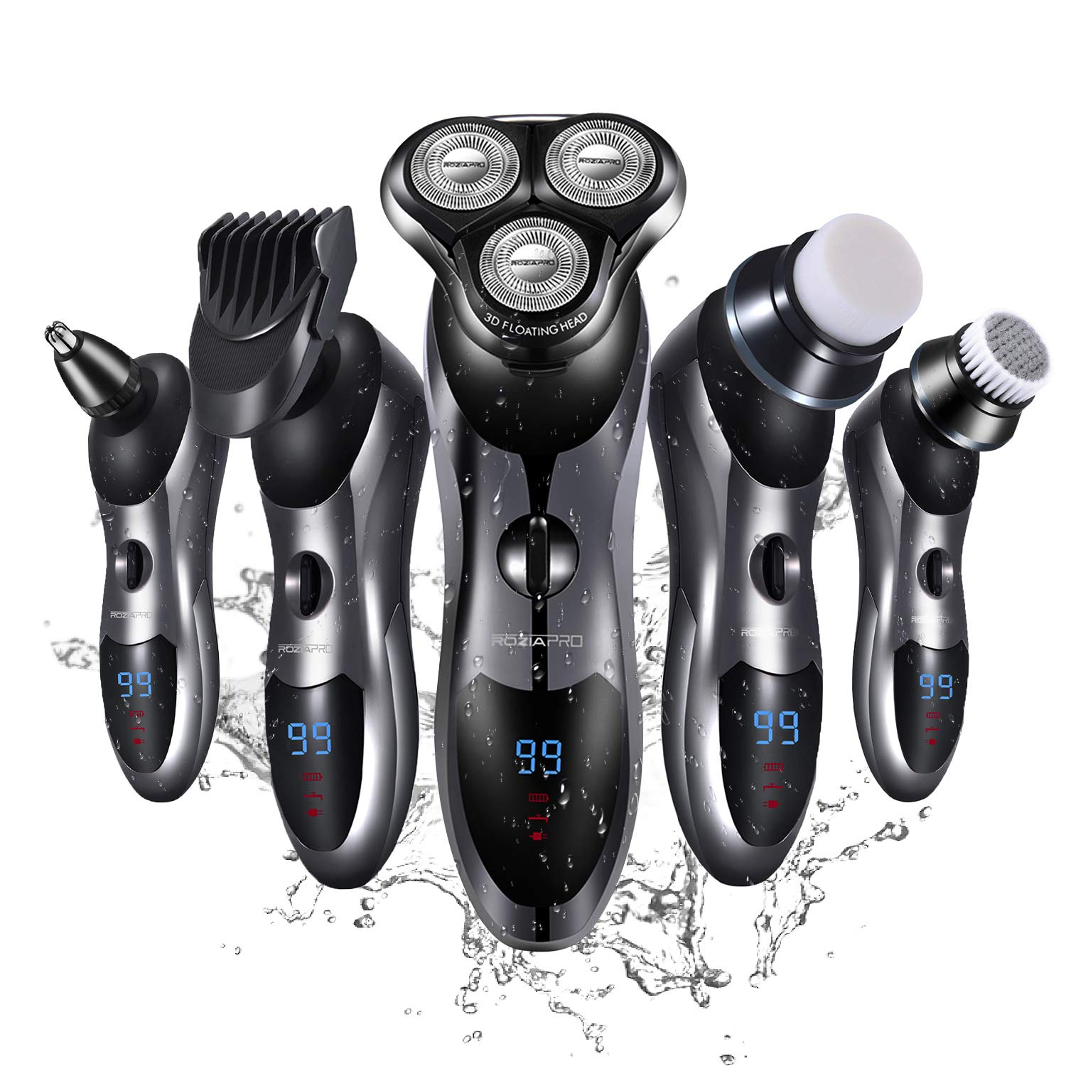 Electric Shaver Razor for Men 5 in 1 Rotary Shavers Beard Trimmer Nose Hair Trimmer Wet and Dry Electric Shavers Men. by Roziapro
