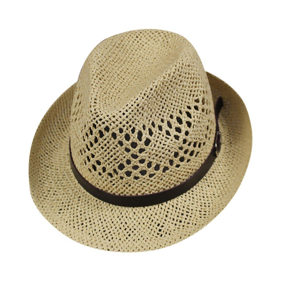 CapsA Beach Straw Hat for Men Women Belt Hollow Visor Small Top Hat Outdoor Sun Hat