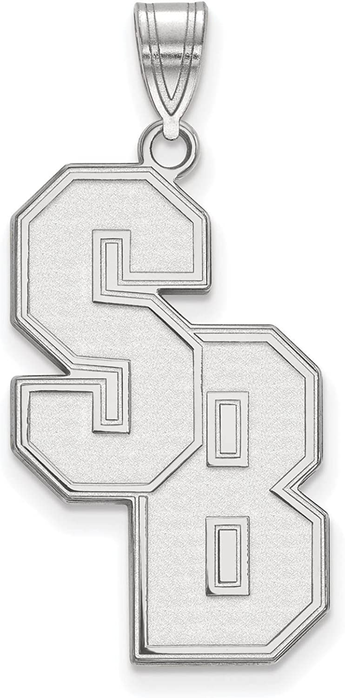 925 Sterling Silver Rhodium-plated Laser-cut Stony Brook University XL Pendant