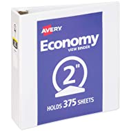 "Avery 2"" Economy View 3 Ring Binder, Round Ring, Holds 8.5"" x 11"" Paper, 1 White Binder (5731)"