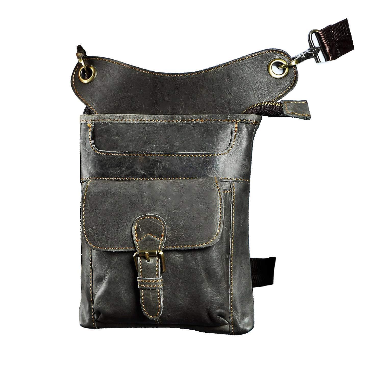 The 211-2 Grey 1 Leaokuu Mens Genuine Leather Messenger Riding Hip Bum Waist Pack Drop Leg Cross Over Bag