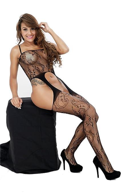 2eda707090 Amazon.com  ZIUMUDY Womens Stretch Fishnet Bodystocking Open Crotch  Bodysuit Tights Underwear (Black)  Clothing