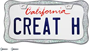 creathome 3D Shining License Plate Frame (Chrome with Shining Sliver Chunky Gliter (New))