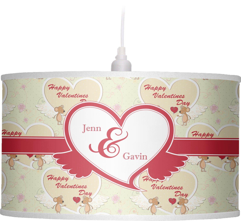 RNK Shops Mouse Love Drum Pendant Lamp Linen (Personalized)