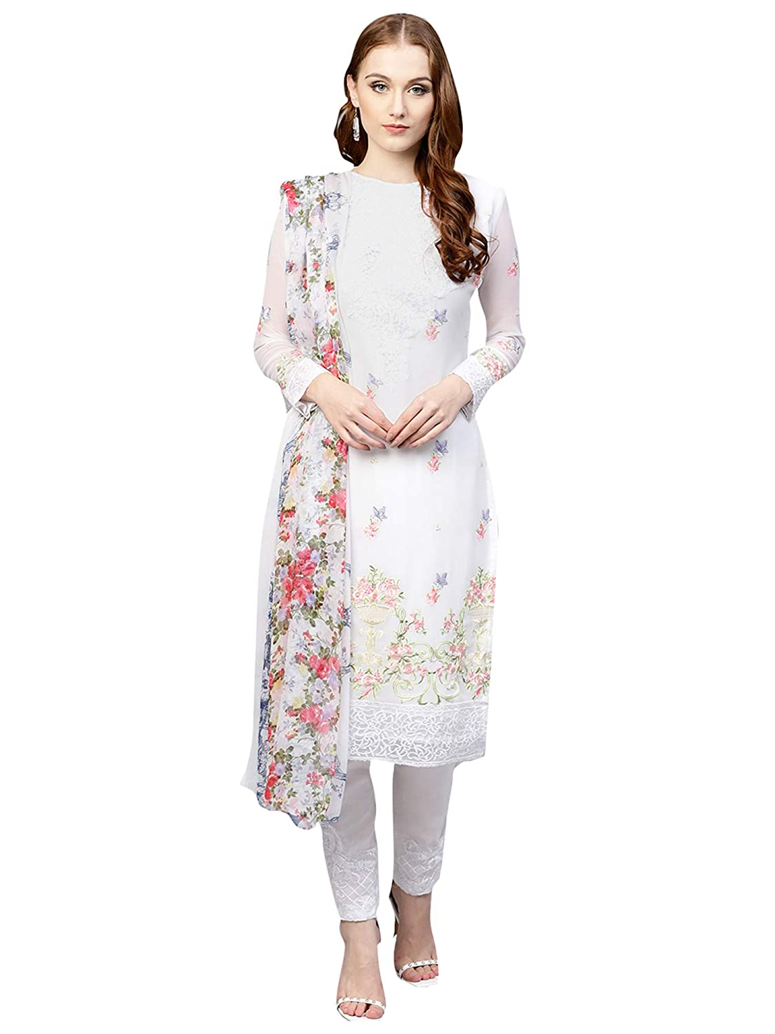 345bcf3b8d AKHILAM Women's Georgette Embroidered Unstitched Salwar Suits Salwar Suit  Material Set (White_Free Size): Amazon.in: Clothing & Accessories