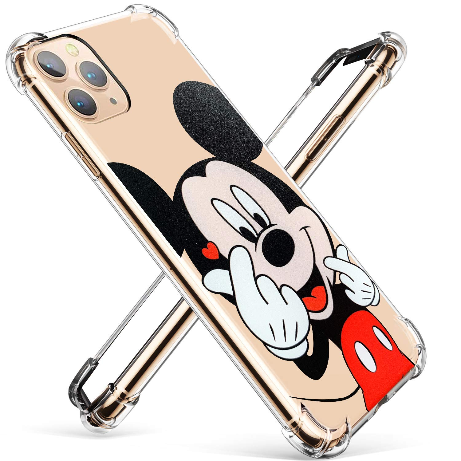 """Darrnew Heart Mouse Case for iPhone 12 Pro Max Cartoon TPU Cute 3D Fun Cover, Kawaii Unique Kids Girls Women Cases, Funny Ultra-Thin Bumper Character Shockproof Protector for iPhone 12 Pro Max 6.7"""""""