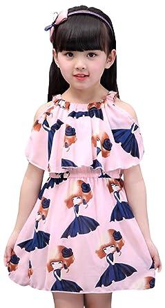 325c6d9f16e53 DeBangNi ワンピース シフォン 女の子 夏 子供服 半袖 子供ドレス キッズドレス オープンショルダー プリント 図案