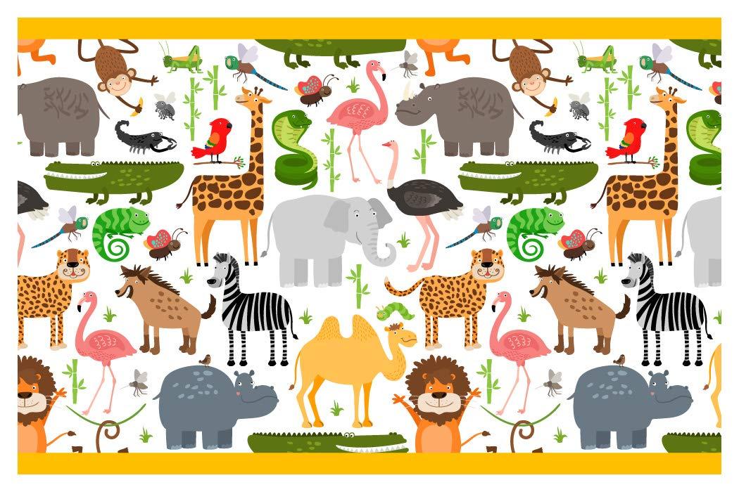 I Love Wandtattoo Kinderzimmer Bordure Borte Safari Afrika Tiere Kinder Selbstklebend