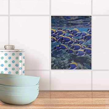 Mosaïque Murale I Auto-adhésif décoratif Carreaux - Revêtement Salle d\'eau  I Motif Fish Swarm I 15x20 cm (1 pièce)